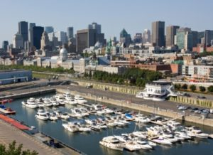 The harbour and skyline of Montreal, Quebec, Canada on a clear, bright summer day