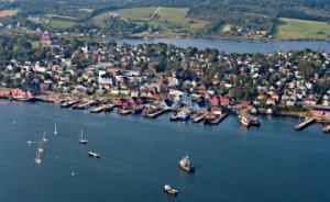 An aerial view of Lunenburg, Nova Scotia, Canada