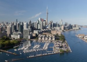 The Toronto skyline, with the CN Tower and the lake shore clearly visible