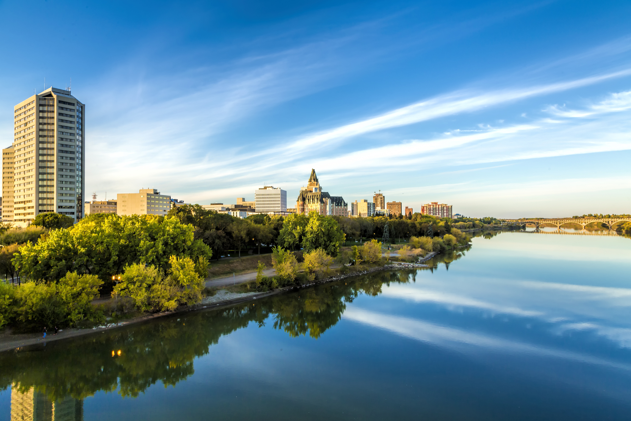 The city landscape in fall of Saskatoon which includes the buildings and South Saskatchewan River.