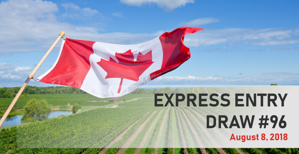 The federal Express Entry Draw 96 took place on August 8, 2018 with 3,750 invitations to apply for Canadian permanent residence issued.