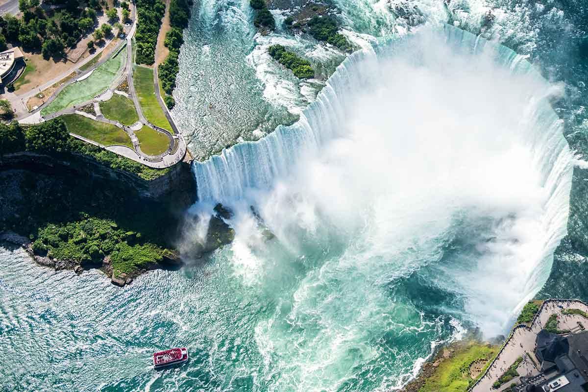 Niagra falls top view between US Canada border