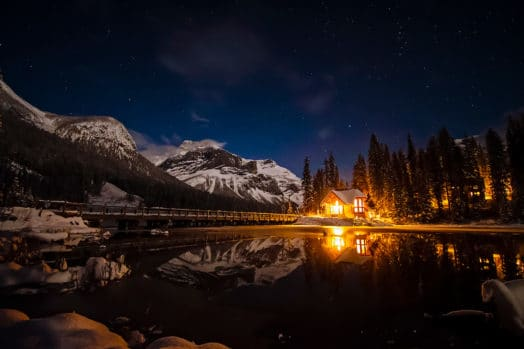A Canadian lake-side cabin at night