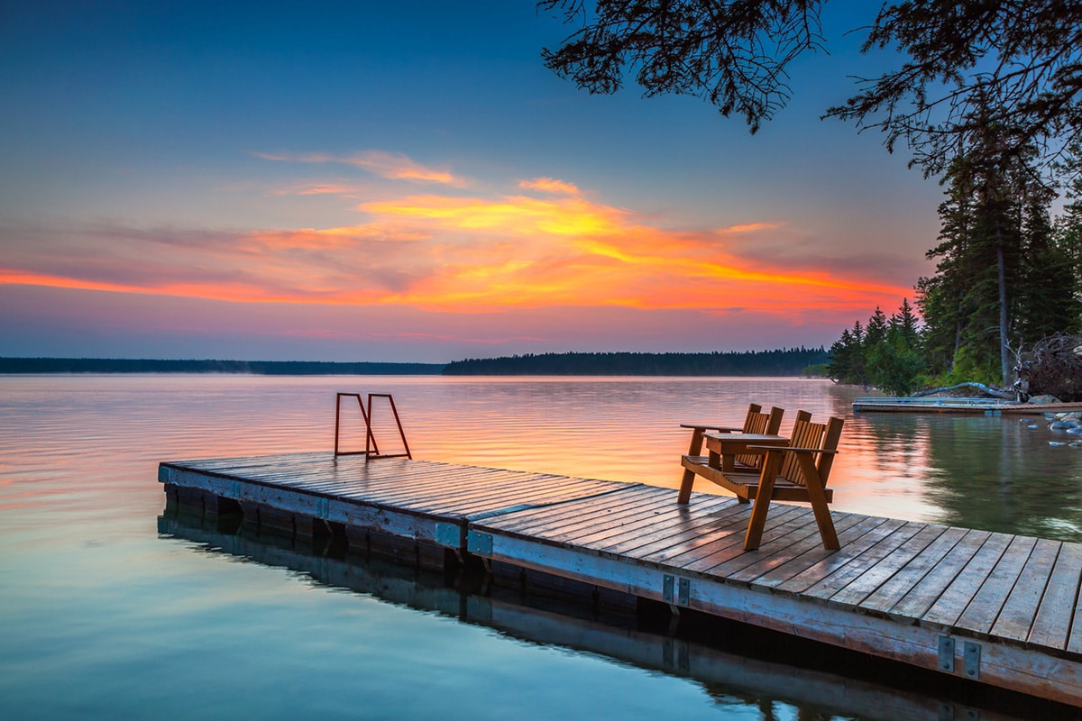 Sunset over Clearwater Lake in Manitoba