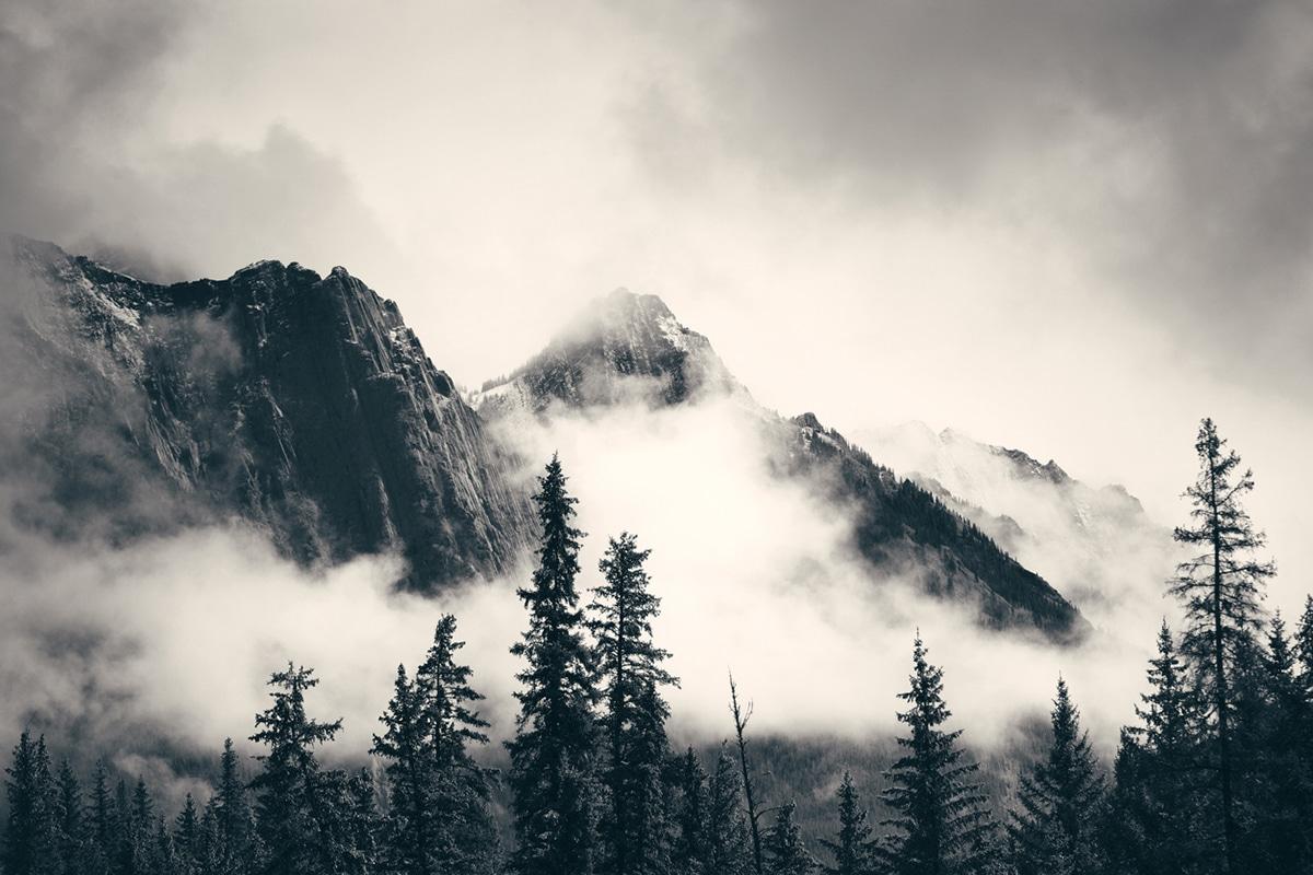 Misty Alberta mountains