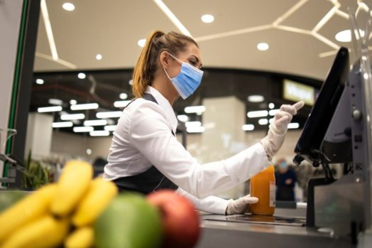 Supermarket worker during COVID-19 pandemic