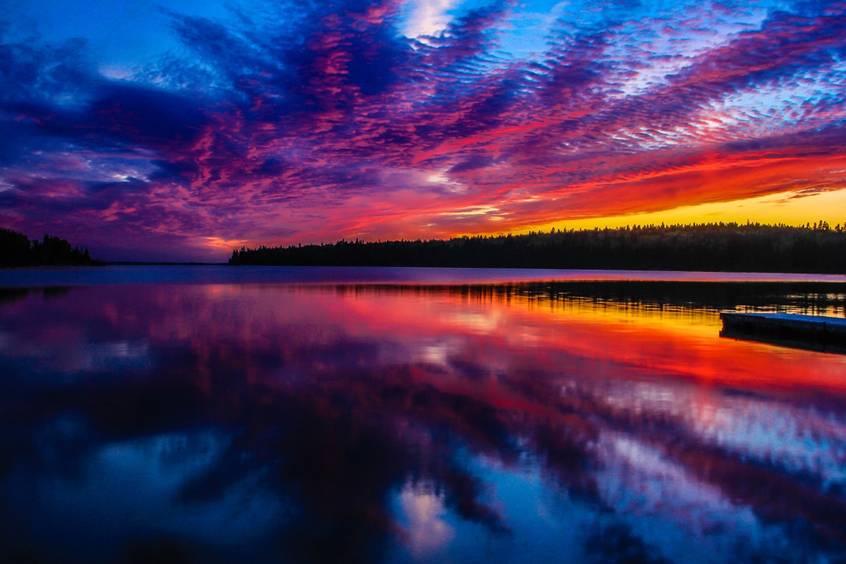 Colourful sunset on Riding Mountain National Park in Manitoba.