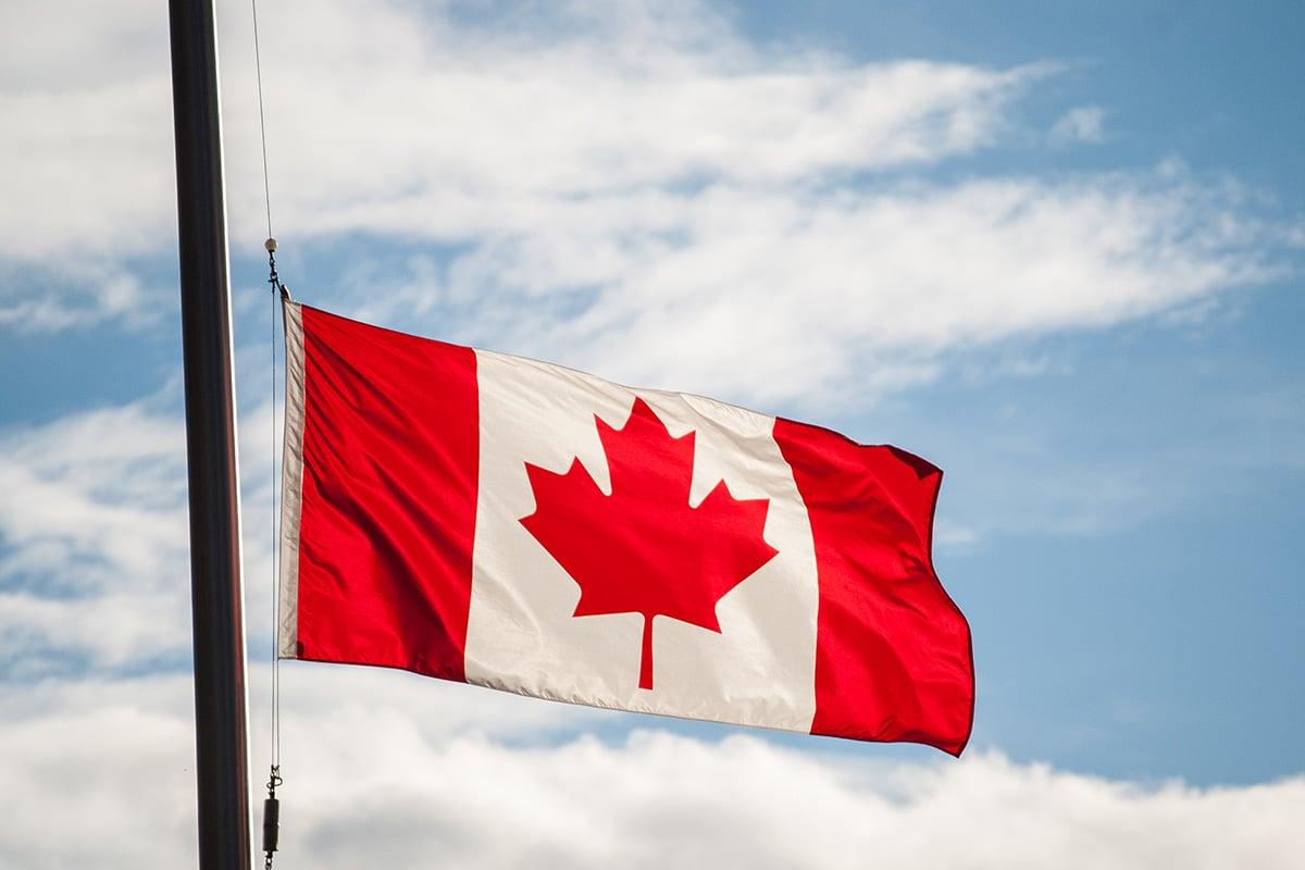 Canada flag at half mast