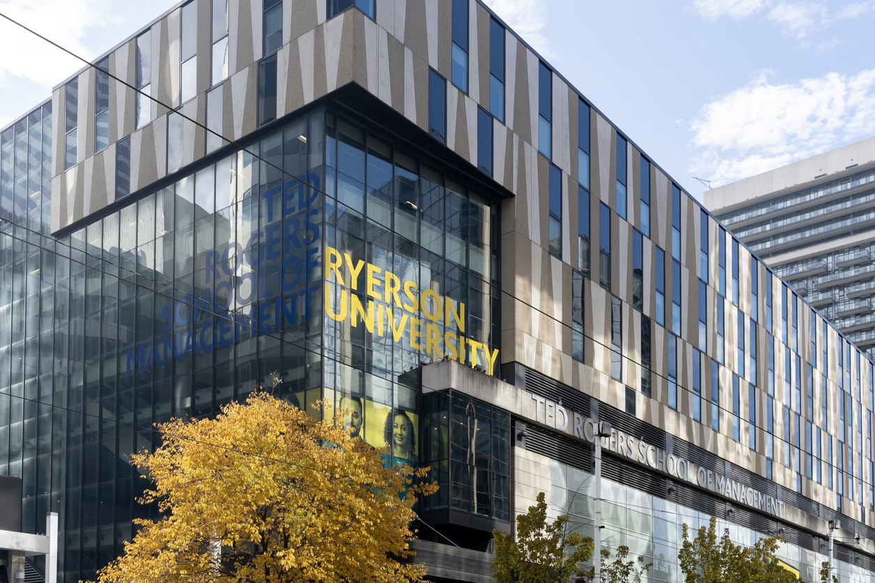 Toronto, Canada-November 9, 2020: Ryerson University building is shown in Downtown Toronto, Canada. Ryerson University, simply Ryerson or RyeU, is a public research university in Toronto.