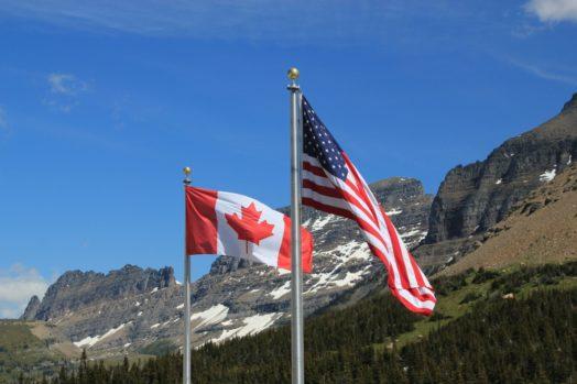 Canada U.S. flags